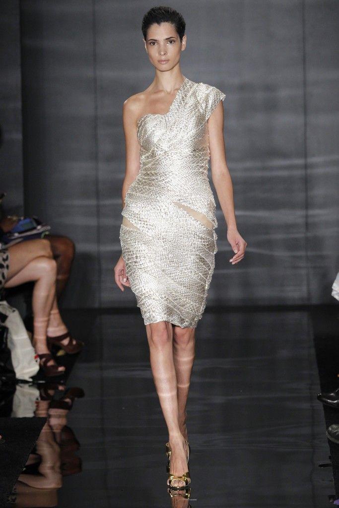 One-shoulder Reem Acra wedding reception dress