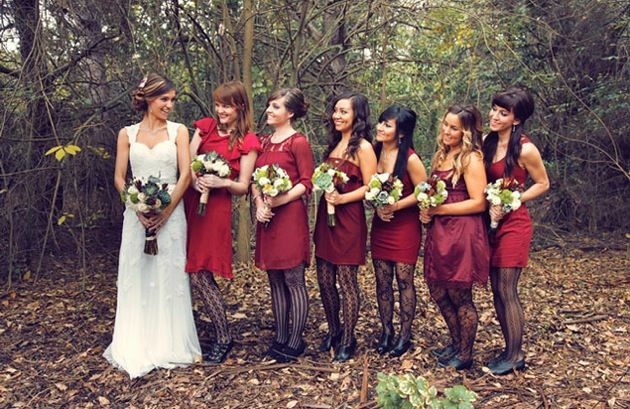 Mix and match bridesmaids dresses for romantic outdoor wedding