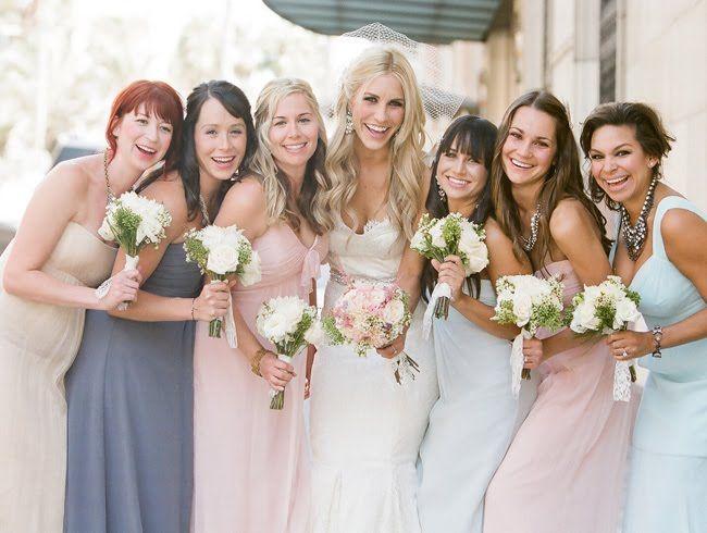 Pastel mix and match bridesmaids dresses