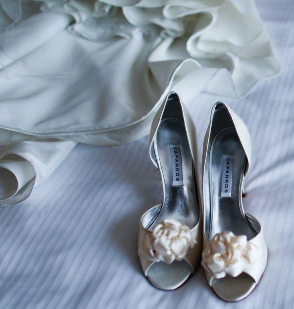 Elegant ivory open-toe wedding shoes with ivory wedding dress