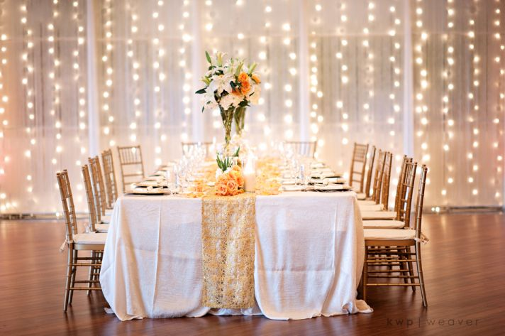Elegant wedding reception decor for fall beach wedding in Florida