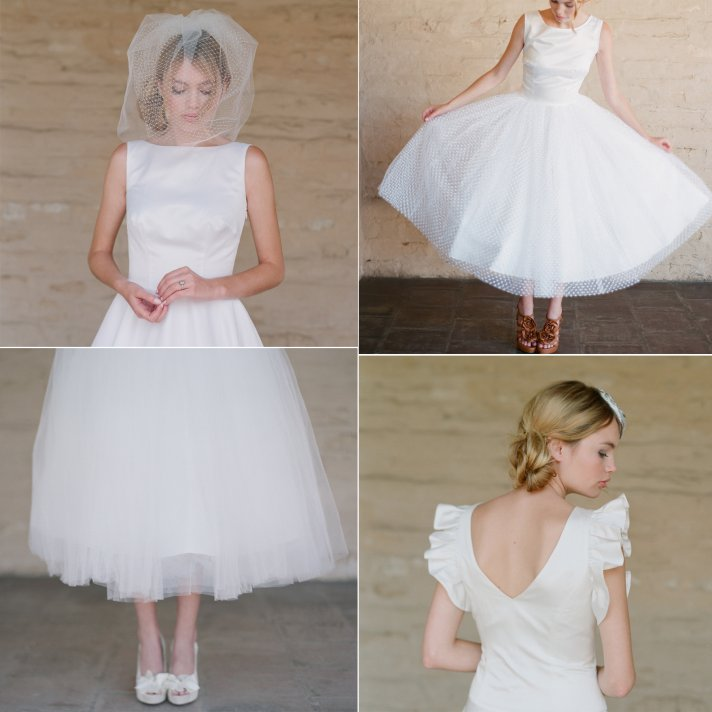 Tea-length vintage-inspired bridal gowns