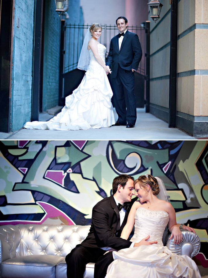 Elegant bride and groom pose outside wedding venue