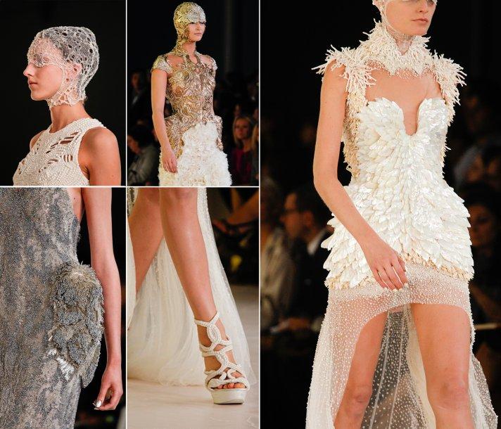 White beaded Alexander McQueen 2012 wedding dress