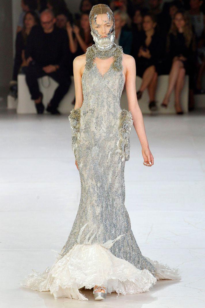 Silver beaded Alexander McQueen Spring 2012 wedding dress