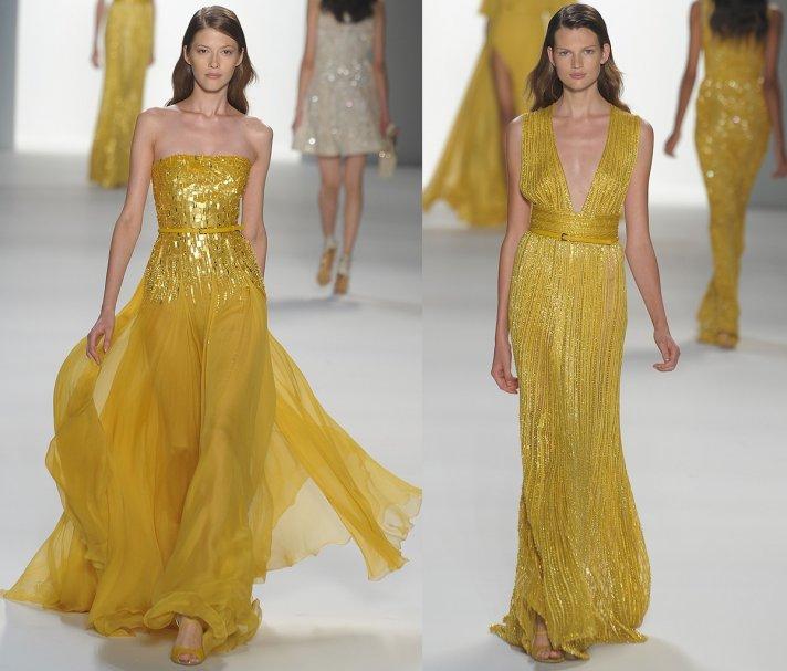 Mustard yellow bridesmaids dresses