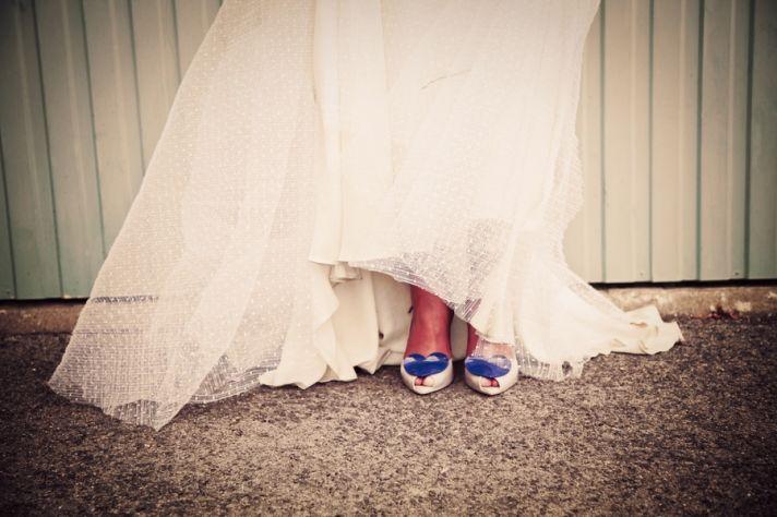 Lace wedding dress, Vivienne Westwood wedding shoes