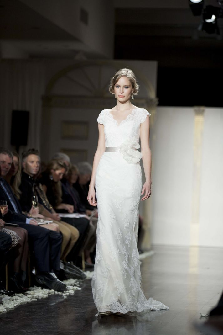 Romantic lace column wedding dress