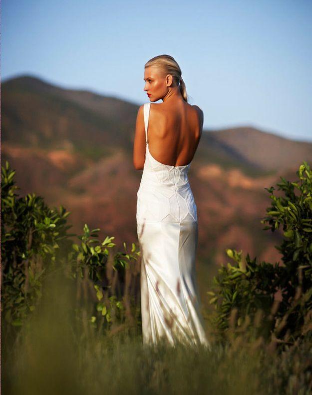 Scoop back silk wedding dress