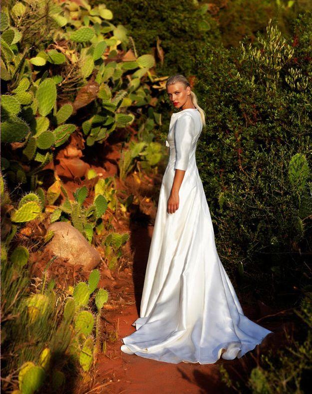Silk a-line wedding dress with three quarter sleeves