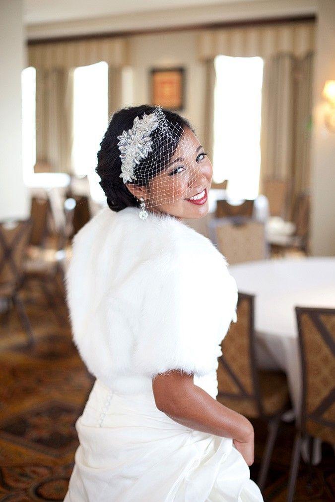 Fur bridal bolero for winter weddings