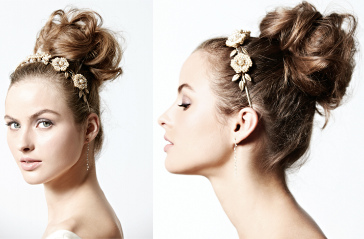 vintageinspired wedding hairstyle messy ballerina bun Credit BHLDN