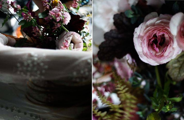 Dark-romantic-wedding-flowers-bridal-bouquet-vintage-wedding-dress