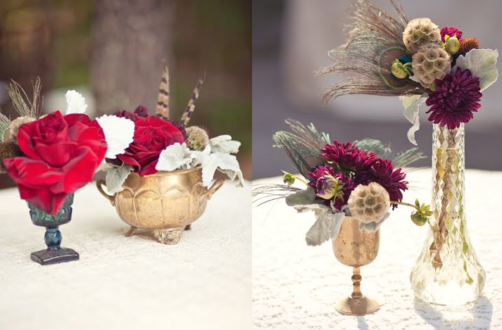Dark Romantic Wedding Flowers vintage carnival themed wedding