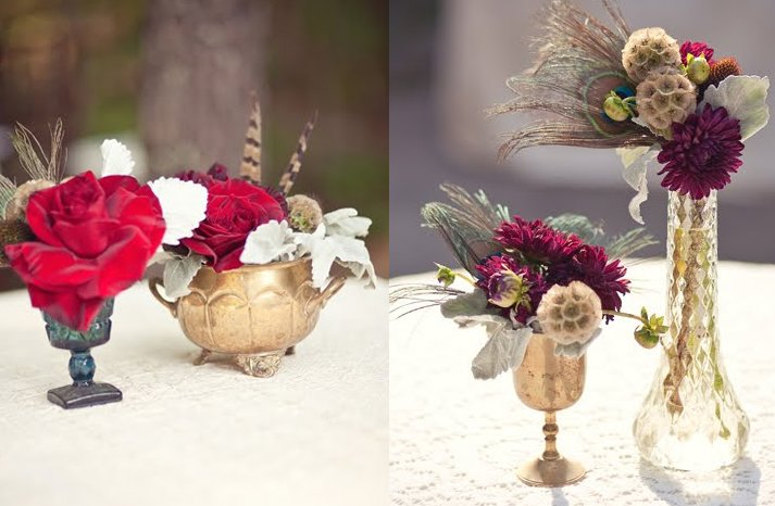 Romantic-wedding-centerpiece-red-roses-purple