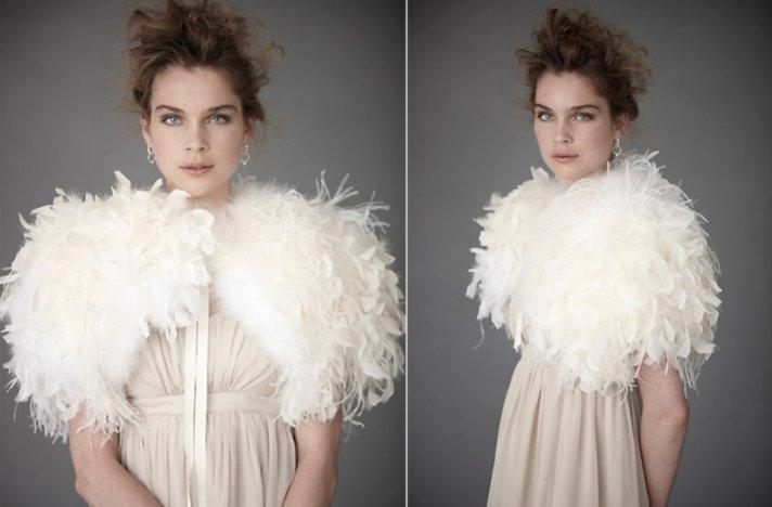 Bridal boleros by BHLDN- dramatic ostrich feather wedding shrug
