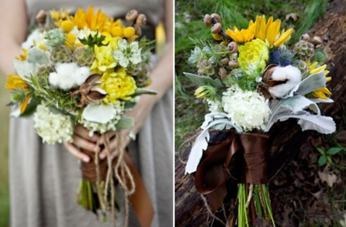 Favorite fall bridal bouquets suggested by Oh Lovely Day- warm fall wedding color palette