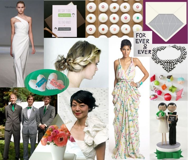 Modern wedding inspiration from the wedding dress to reception decor