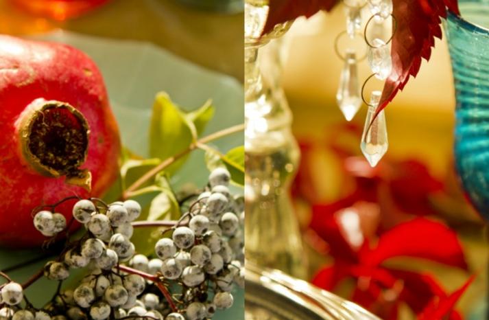 dark romance wedding reception decor crystals red centerpieces