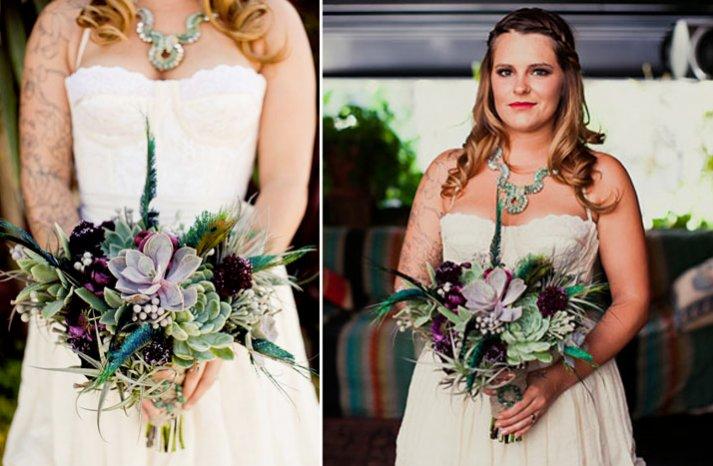 tattood bride dark bridal bouquet eco friendly succulent wedding flowers