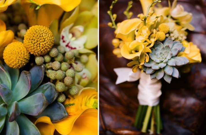 yellow green bridal bouquet eco friendly succulent wedding flowers