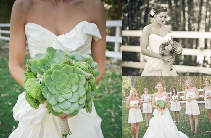 all green bridal bouquet eco friendly succulents