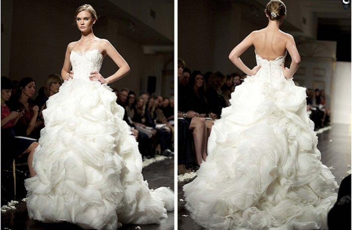 strapless frothy wedding dress ballgown lazaro 2012