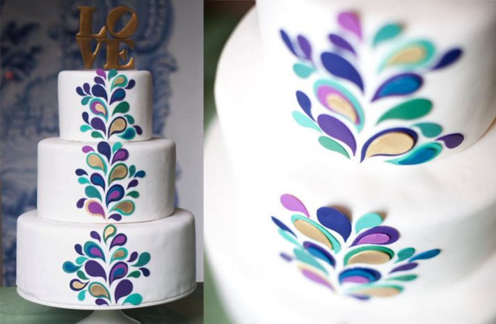 white wedding cake purple blue paisley