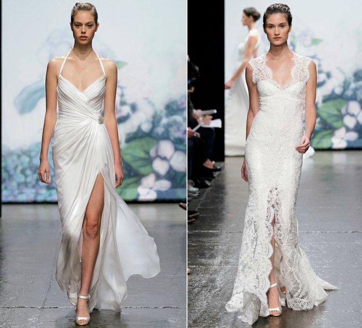 2012 wedding dress trends monique lhuillier bridal gowns sultry slits silk halter