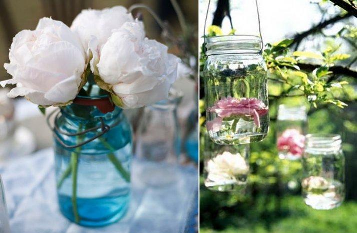 vintage wedding ideas mason jars ceremony reception decor 4