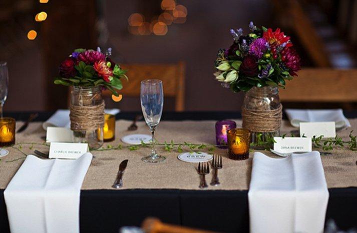 rustic chic wedding tablescape vintage mason jars