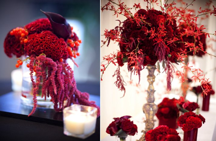 deep red wedding flower centerpieces