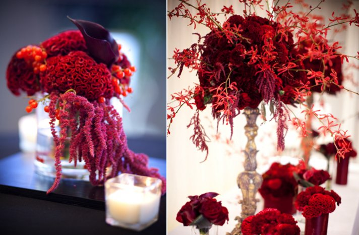 deep red wedding flower centerpieces