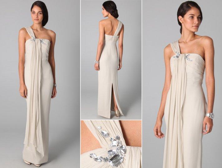 splurge vs save wedding dress one shoulder vintage inspired