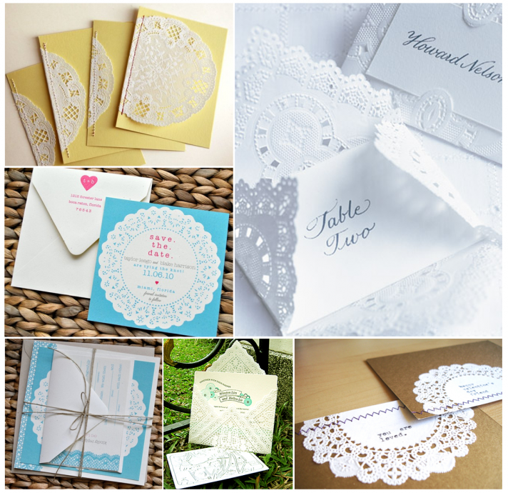 vintage wedding stationery doilies wedding invitations