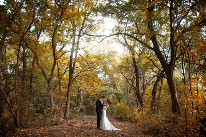 Fall wedding, outdoor wedding shot of bride and groom