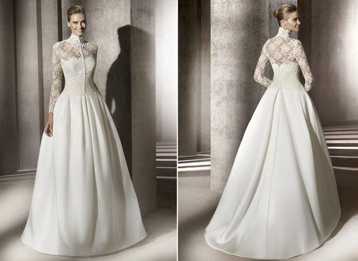 lace a line wedding dress pronovias