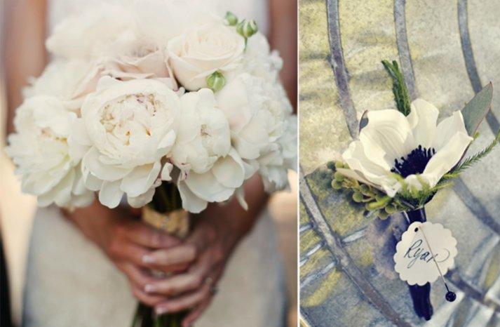 winter wedding flowers bridal bouquet boutonniere