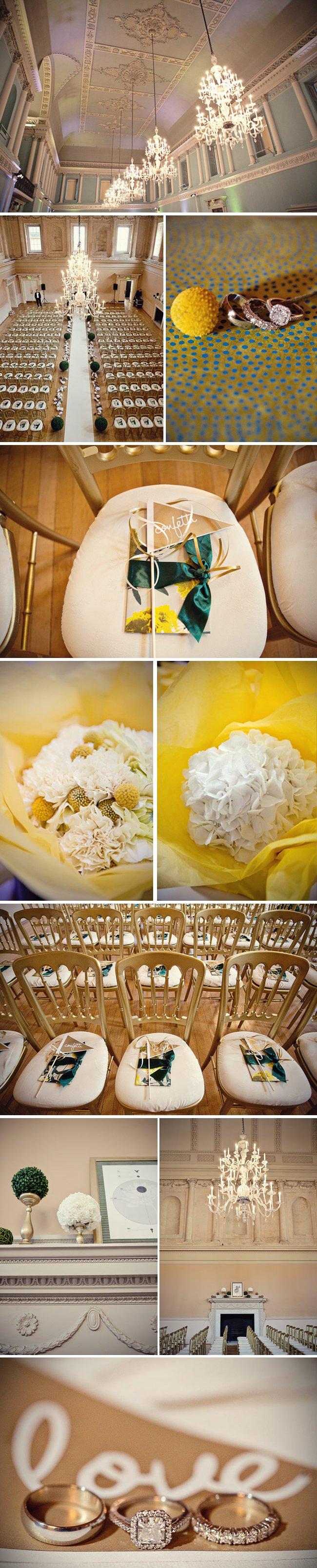 real weddings chic downtown london wedding venue yellow wedding flowers