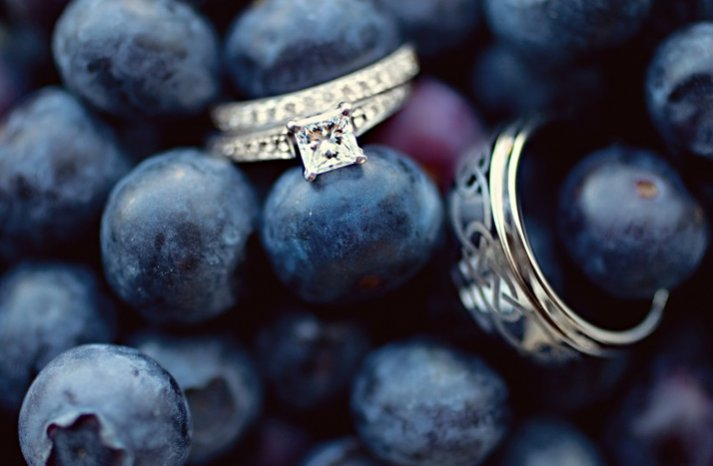 square engagement ring wedding bands blueberries