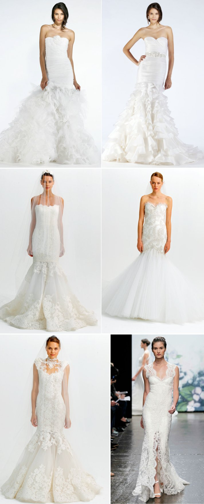 2012 wedding dresses mermaid bridal gown monique lhuillier marchesa oscar de la renta