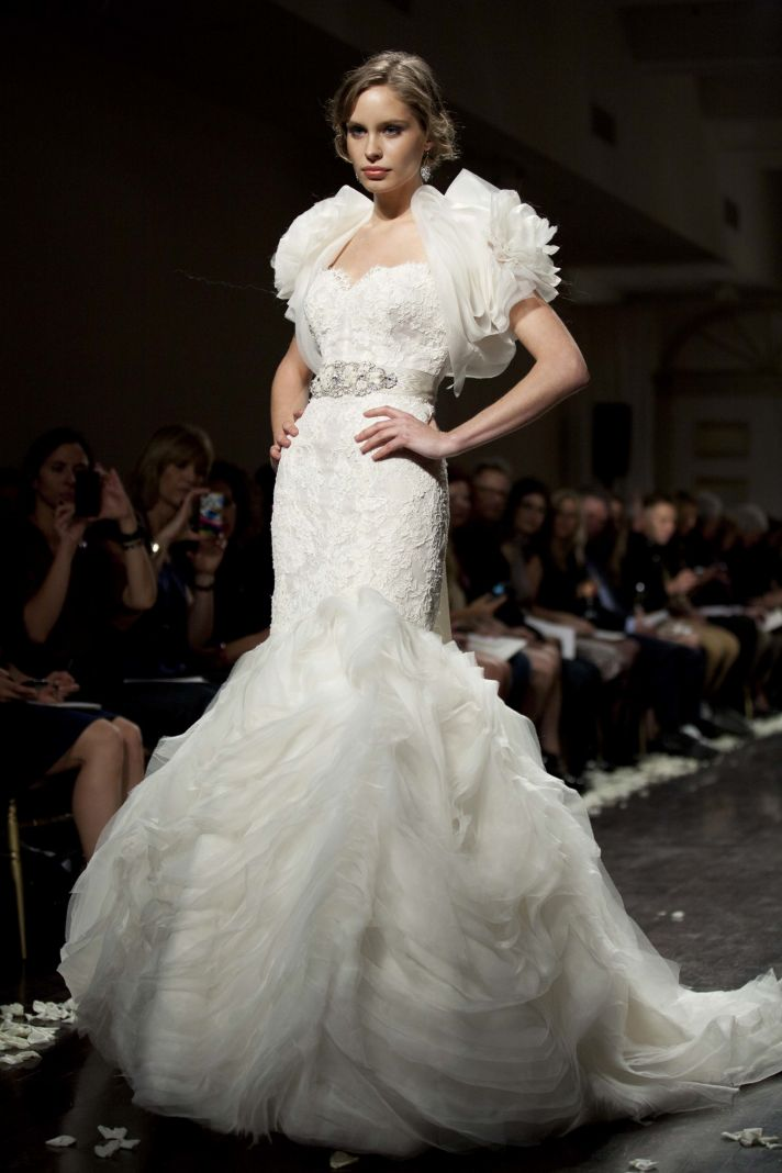 2012 wedding dress lazaro bridal gown mermaid bolero
