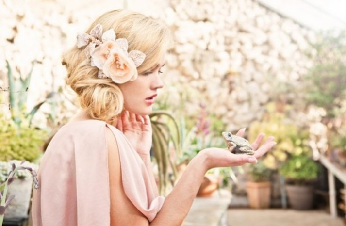 blonde bride wedding updo bohemian bridal style