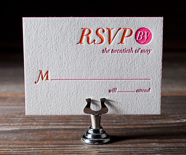 rsvp bright letterpress invites