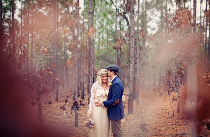 outdoor bohemian wedding bride groom couple photo