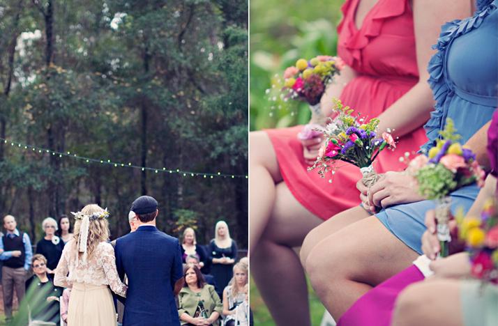 outdoor bohemian wedding ceremony bride groom at altar