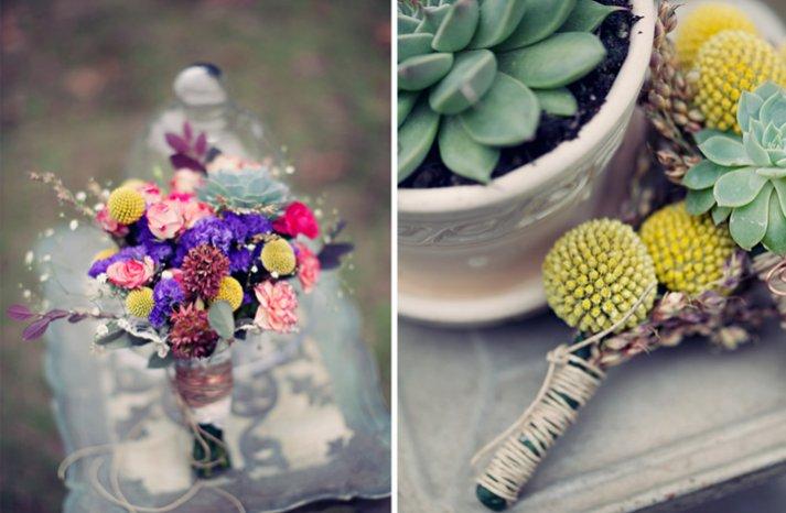 outdoor bohemian wedding wild flowers centerpiece boutonniere