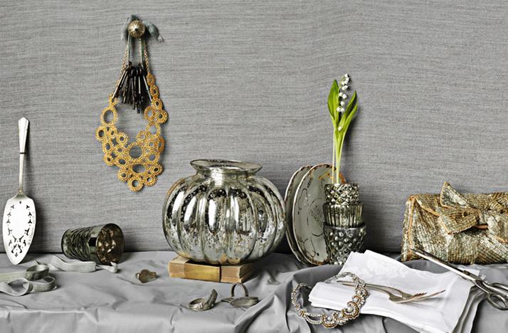 bhldn wedding decor ideas reception table silver gold Credit BHLDN