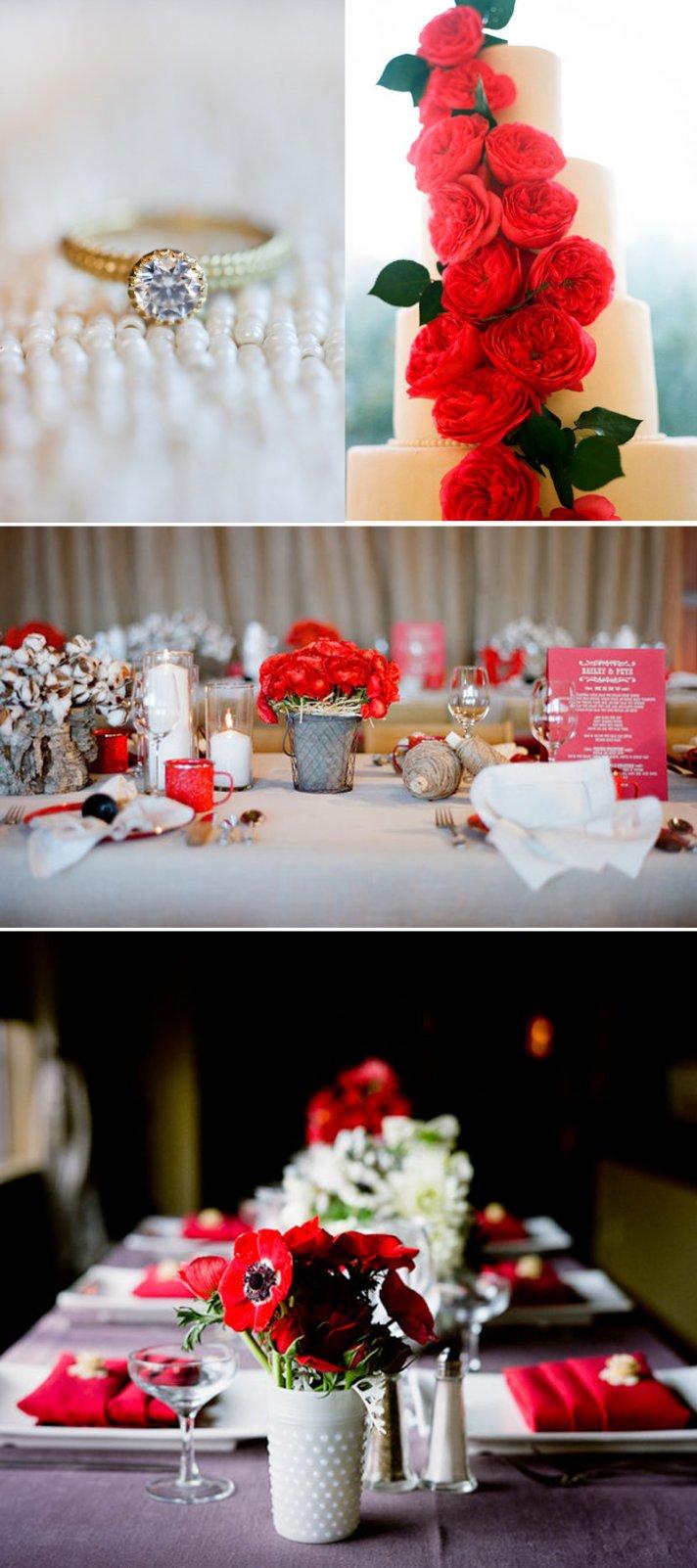 wedding color ideas red white black reception flowers decor