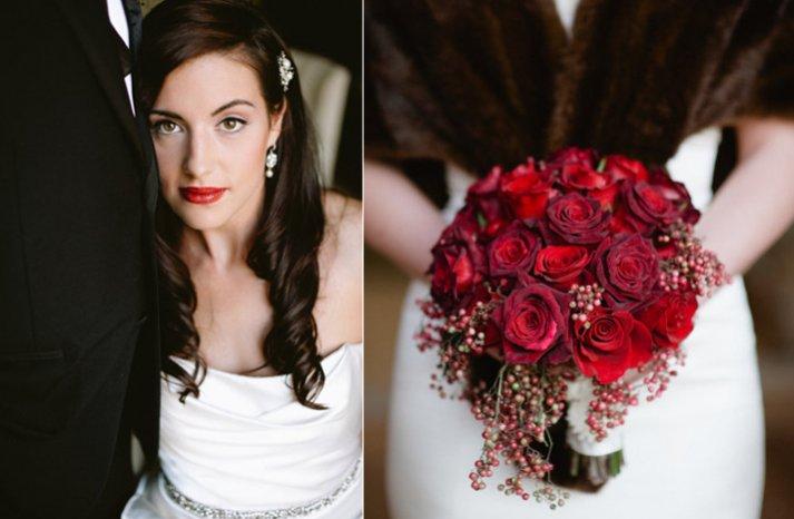 vintage glam bride red rose bridal bouquet